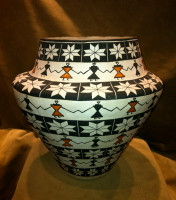 "Acoma Polychrome Pot ""Friendship Dance"" Manuel Stevens SOLD"