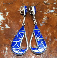 EARRINGS ZUNI STERLING SILVER LAPIS INLAY FISH SCALE DESIGN SKJ