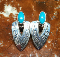 EARRINGS NAVAJO HOPI STYLE TRIANGULAR SHAPED SILVER OVERLAY TURQUOISE EMT EVERETT & MARY TELLER