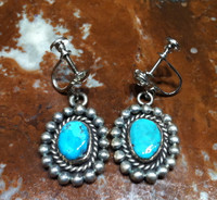 EARRINGS NAVAJO STERLING SILVER TURQUOISE PAWN SCREWBACKS SOLD