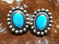EARRINGS NAVAJO STERLING SILVER TURQUOISE PAWN SCREWBACK 2