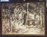 DAVID E. GARRISON 1970'S FRENCH CONTE CRAYON ORIGINAL HORSE & RIDER PAINTING