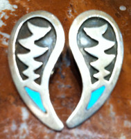 EARRINGS NAVAJO STERLING SILVER TURQUOISE TEARDROP PAWN CLIP