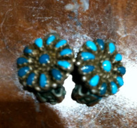 EARRINGS ZUNI TURQUOISE ROUND PAWN ESTATE FLORAL CLUSTER CLIP