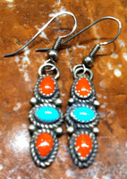EARRINGS NAVAJO TURQUOISE & CORAL FRENCH WIRE DANGLE ROPE DESIGN SOLD