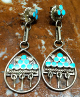 EARRINGS ZUNI SLEEPING BEAUTY TURQUOISE MULTI-STONE INLAY DISHTA STYLE 1940'S PAWN ESTATE SOLD