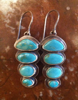 EARRINGS NAVAJO STERLING SILVER STACKED TURQUOISE OVAL FRENCH WIRE DANGLE