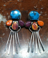 EARRINGS NAVAJO PAWN STERLING SILVER RARE BISBEE TURQUOISE RARE ORANGE AND PURPLE SPINY OYSTER SHELL DANGLE Nez SOLD