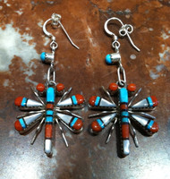 EARRINGS ZUNI MULTI-COLOR INLAY DRAGONFLY MOTIF WJH