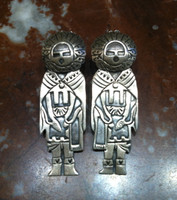 EARRINGS NAVAJO STERLING SILVER KACHINA MOTIF PAWN SOLD