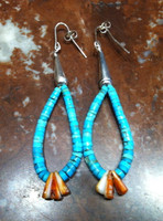 EARRINGS SANTO DOMINGO TURQUOISE ORANGE SPINY OYSTER SHELL HEISHI DANGLE HOOPS Ray Lovato