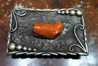 BELT BUCKLE  NAVAJO STYLE CORAL STERLING SILVER RECTANGULAR DH