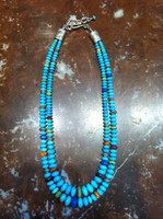 SANTO DOMINGO GRADUATED DOUBLE STRAND MULTI-STONE CHERRIO BEAD CASTLE DOME TURQUOISE Ken Aguilar SOLD