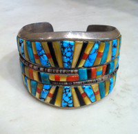 THOMAS SINGER BRACELETS NAVAJO STERLING SILVER RAISED MULTI-COLOR STONE INLAY