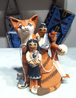 STORYTELLER JEMEZ TABBY CAT BALL OF YARN MOUSE FISH CHILDREN Lucero Gachupin SOLD