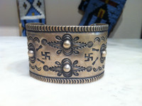 Bracelets Navajo 1940's Pawn Wide Coin Silver Cuff Whirling Log Pattern Re-Posse Design