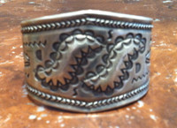 Bracelet Navajo 1940's Pawn Stamped Silver Ingot Tapered SOLD
