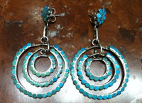 EARRINGS PAWN ZUNI TURQUOISE INLAY LARGE CIRCULAR TRIPLE DANGLE Dishta
