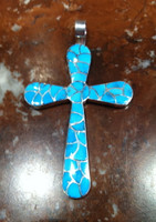 PENDANT ZUNI MULTI STONE TURQUOISE FISHSCALE INLAY LARGE CROSS Carmichael Haloo