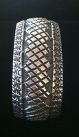 BRACELET NAVAJO LARGE MAN OR WOMANS WIDE SILVER STAMPED OVERLAY ROUND DOMED CUFF Marc Antia