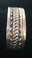 BRACELET NAVAJO LARGE MAN OR WOMAN'S WIDE SILVER STAMPED CUFF Marc Antia_3 SOLD