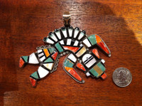 PENDANTS ZUNI MULTI-COLOR INLAY STERLING SILVER RAINBOW GOD
