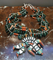 SANTO DOMINGO FOUR STRAND HEISHI TAB NECKLACE EMERALD VALLEY TURQUOISE Nestoria Coriz's Father Lupe Peina