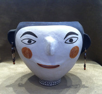Pottery Acoma Polychrome Face Pot Rare Old Unique Frances Torivio SOLD