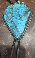 BOLO NAVAJO LARGE STONE BLUE GEM OR FOX TURQUOISE PAWN