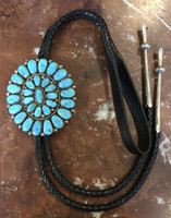 BOLO TIE ZUNI TURQUOISE CLUSTER PAWN RARE COLLECTABLE Robert Bernice Leekya