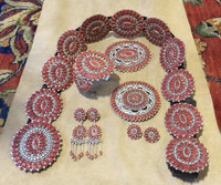 ALICE QUAM CLUSTER CORAL ZUNI JEWELRY COLLECTION CONCHO BELT BRACELET PIN PENDANTS EARRINGS SOLD