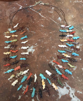 ZUNI MULTI COLOR MULTI ANIMAL THREE STRAND FETISH NECKLACE PETE & DINAH GASPAR