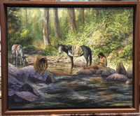 """COOL WATER"" NAVAJO ORIGINAL OIL PAINTING WOOLEN SHIRT James King"