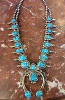 NAVAJO NATURAL LONE MOUNTAIN TURQUOISE SQUASH BLOSSOM NECKLACE