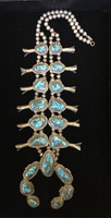 NATIVE AMERICAN PAWN JEWELRY CANDELARIA TURQUOISE SQUASH BLOSSOM NECKLACE