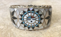 ZUNI MULTI-COLOR INLAY SUNFACE BRACELET RALPH AND LILY KALLESTEWA
