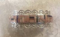 BRACELETS CONTEMPORARY NAVAJO SILVER SCALLOPPED EDGES REPOSSE' RARE ANGEL SKIN CORAL B Yazza