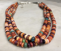 NECKLACES SANTO DOMINGO RARE ORANGE SPINY OYSTER SHELL MULTI-COLOR STONE BEAD KEN AGUILAR SOLD