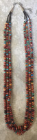 SANTO DOMINGO RAREDARK ORANGE SPINY OYSTER SHELL 3STRAND NECKLACE 4 KEN AGUILAR SOLD