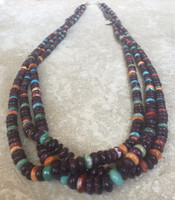 SANTO DOMINGO RARE PURPLE SPINY OYSTER SHELL 3 STRAND NECKLACES_1 KEN AGUILAR