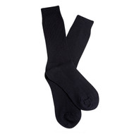 Overlander Fine Australian wool Women's PK1 ribbed crew socks - Black