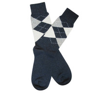 Sock Cafe Mens PK1 fine cotton knit Argyle-English Oxford crew socks in navy marle