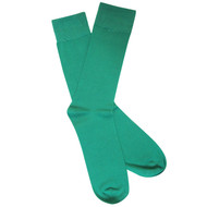 Sock Cafe Mens PK1 fine bamboo knit Solid Oxford crew socks in emerald