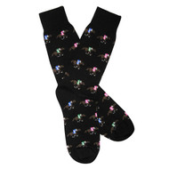 Sock Cafe Mens PK1 fine cotton knit Horse Racing crew socks in black with multi colours