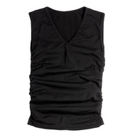 Sock Café Body PK1 Seamless Ruched Sleeveless V-Neck Top - Black