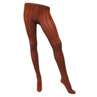 Sock Café Womens PK1 5x5 Ribbed 125 Denier Textured Tights - Rust