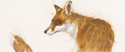 Hand embellished fox artwork by Kay Johns
