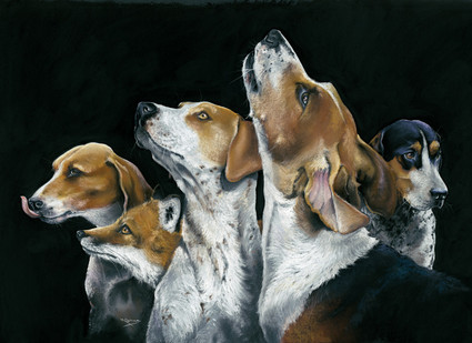 Fox Hounds and a cheeky Fox artwork by Kay Johns