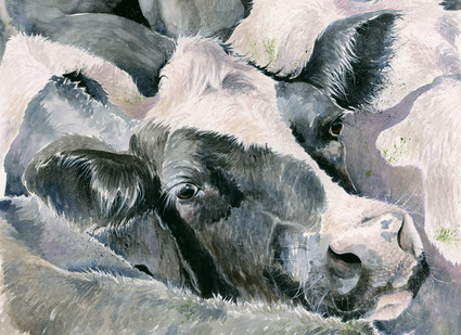 Hand Embellished Dairy Cow Artwork by Kay Johns