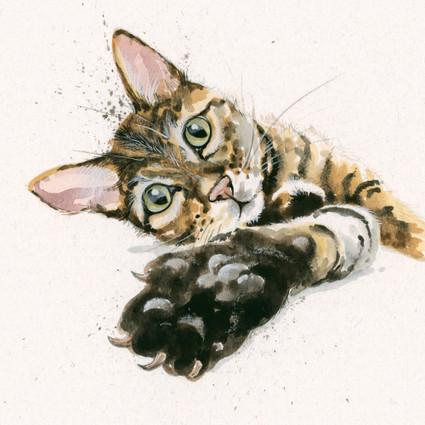 Tabby cat artwork by Kay Johns